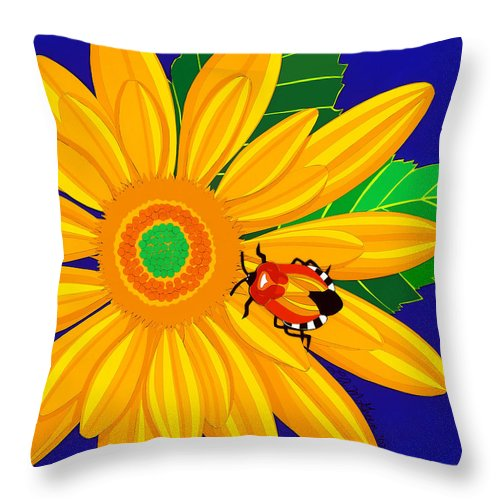 Nature Throw Pillow featuring the drawing Daisy And Shieldbug by Lucyna A M Green