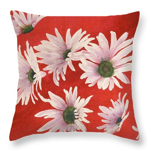 Flowers Throw Pillow featuring the painting Daisy Chain by Ruth Kamenev