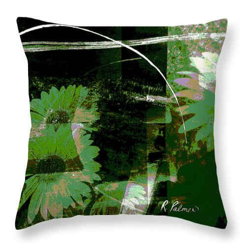 Abstract Throw Pillow featuring the mixed media Daisy Chain by Ruth Palmer