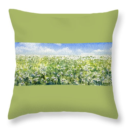Nature Throw Pillow featuring the painting Daisy Field by Mary Tuomi