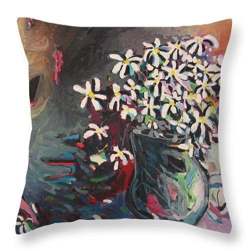 Daisy Paintings Throw Pillow featuring the painting Daisy In Vase by Seon-Jeong Kim