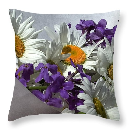 Floral Throw Pillow featuring the photograph Daisy Mix by David Patterson