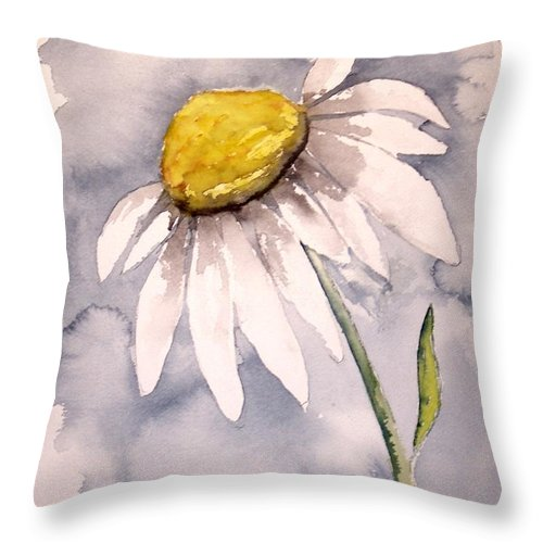 Daisy Throw Pillow featuring the painting Daisy Modern Poster Print Fine Art by Derek Mccrea