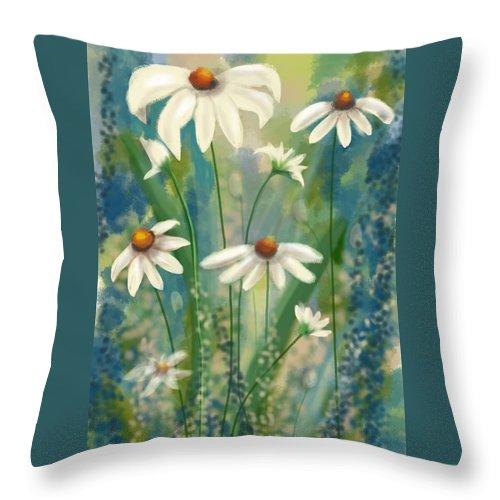 Flowers Throw Pillow featuring the digital art Daisy's Blues. by Kathleen Hromada