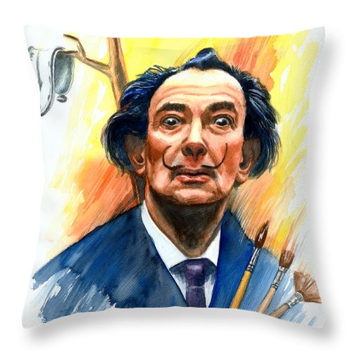 Salvador Dali Throw Pillow featuring the painting Dali by Ken Meyer
