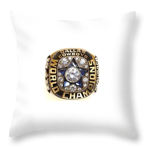 Dallas Cowboys Throw Pillow featuring the digital art Dallas Cowboys First Super Bowl Ring by Paul Van Scott