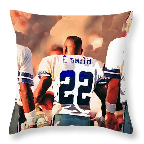 Dallas Cowboys Throw Pillow featuring the mixed media Dallas Cowboys Triplets by Paul Van Scott