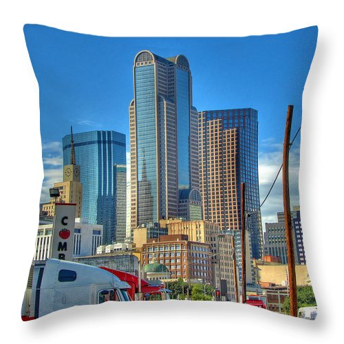 Dallas Throw Pillow featuring the photograph Dallas Morning Skyline by Farol Tomson