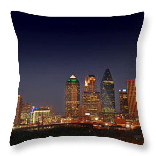 Dallas Skyline Night Throw Pillow featuring the photograph Dallas Skyline At Dusk Big Moon Night by Jon Holiday