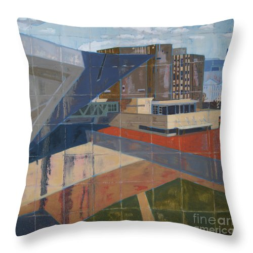 Cityscape Throw Pillow featuring the painting Dam Museum by Erin Fickert-Rowland