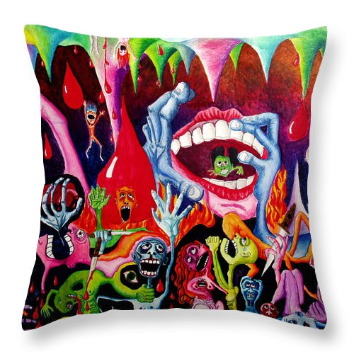 Hell Throw Pillow featuring the painting Damnation Of The Evil by Nancy Mueller