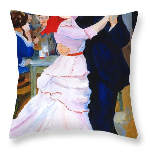 Dance At Bougival Throw Pillow featuring the painting Dance At Bougival After Renoir by Rodney Campbell
