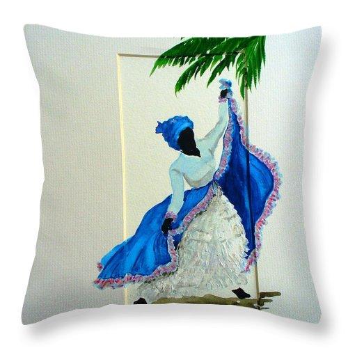 Folk Dance Caribbean Tropical Throw Pillow featuring the painting Dance De Pique by Karin Dawn Kelshall- Best