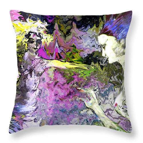 Miki Throw Pillow featuring the painting Dance in Violet by Miki De Goodaboom