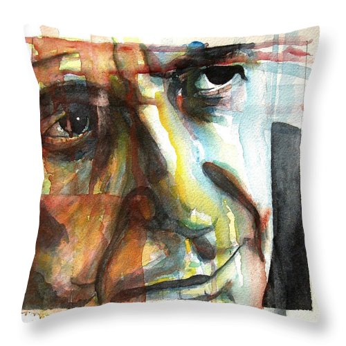 Leonard Cohen Throw Pillow featuring the painting Dance Me To The End Of Love by Paul Lovering