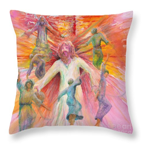 Jesus Throw Pillow featuring the painting Dance Of Freedom by Nadine Rippelmeyer