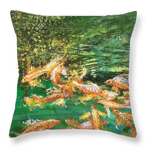 Gold Fish Throw Pillow featuring the painting Dance of Golden Angels by J Bauer
