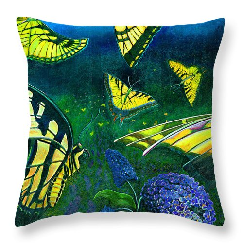 Butterfly Throw Pillow featuring the painting Dance Of The Butterflies by Peter Bonk