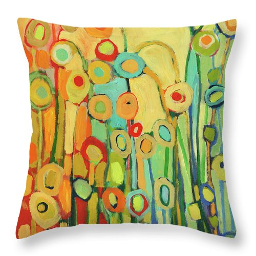 Floral Throw Pillow featuring the painting Dance of the Flower Pods by Jennifer Lommers