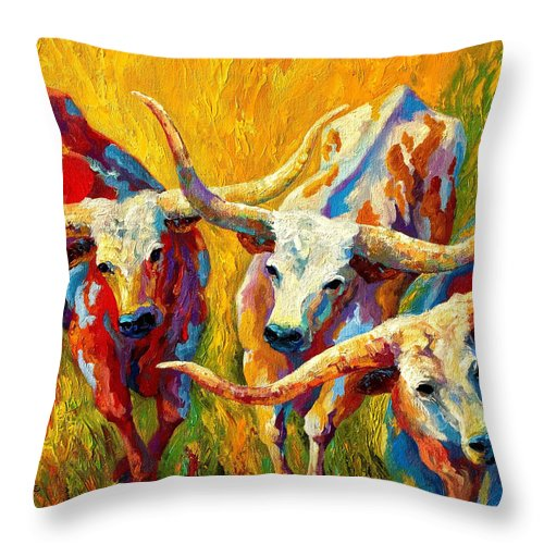 Western Throw Pillow featuring the painting Dance Of The Longhorns by Marion Rose