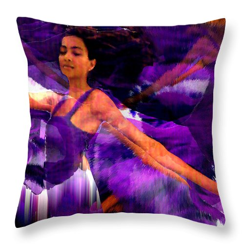 Mystical Throw Pillow featuring the digital art Dance of the Purple Veil by Seth Weaver