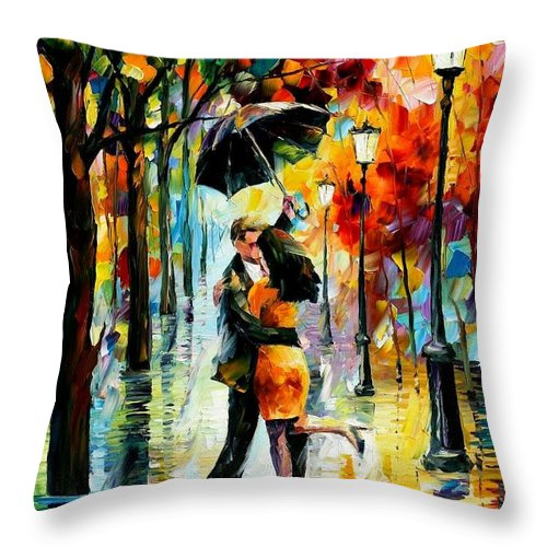 Afremov Throw Pillow featuring the painting Dance Under The Rain by Leonid Afremov