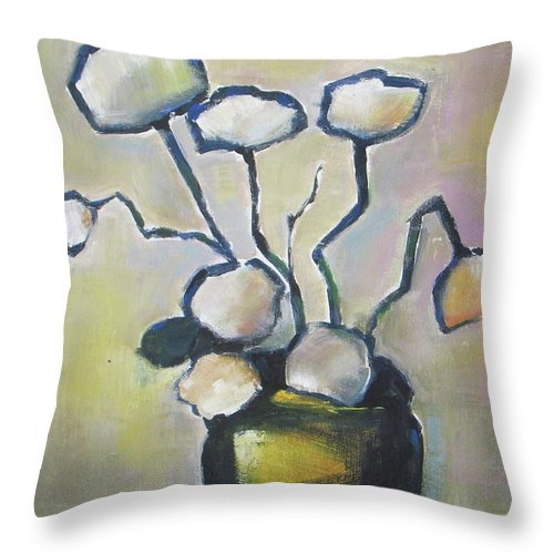 Flowers Throw Pillow featuring the painting Dance With Me by Vesna Antic