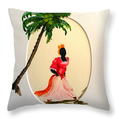 Caribbean Dancer Throw Pillow featuring the painting Dancer 1 by Karin Dawn Kelshall- Best