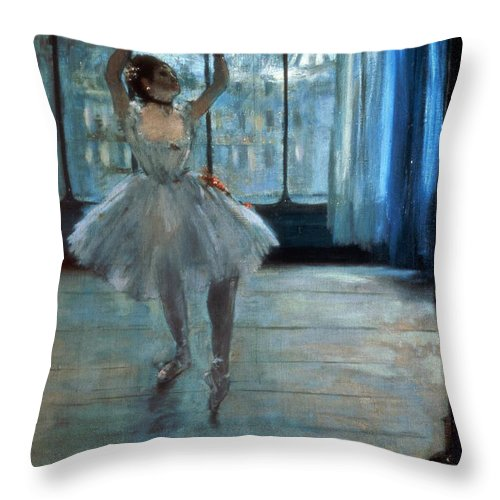 Dancer Throw Pillow featuring the painting Dancer In Front Of A Window by Edgar Degas