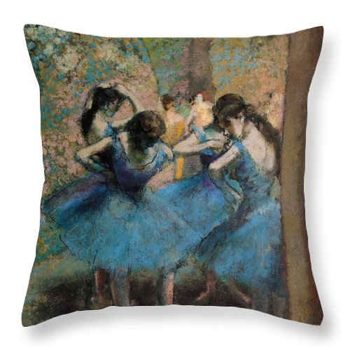 Dancers Throw Pillow featuring the painting Dancers In Blue by Edgar Degas