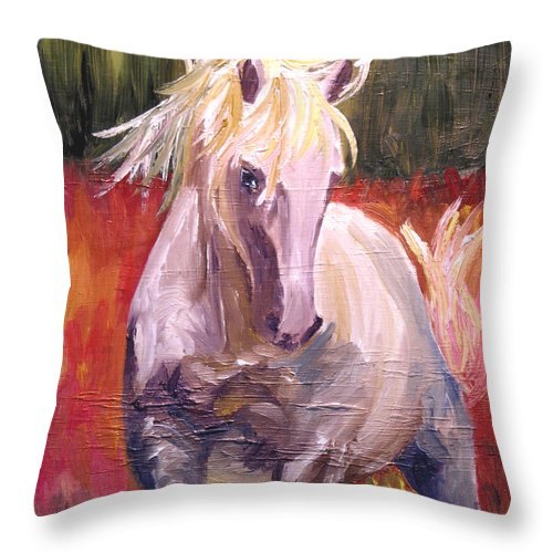 Horse Throw Pillow featuring the painting Dances In Fire Meadow by Michael Lee