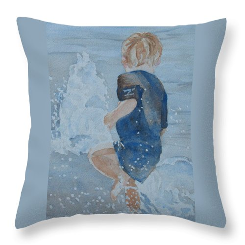 Boy Throw Pillow featuring the painting Dances With Fountains by Jenny Armitage
