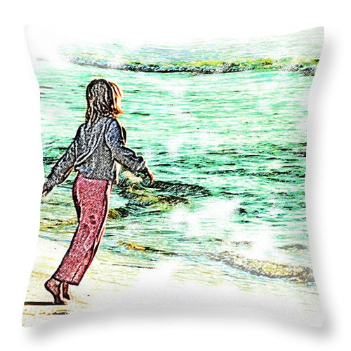 Joy Throw Pillow featuring the digital art Dancin' With The Sunrise by Sean Holmquist