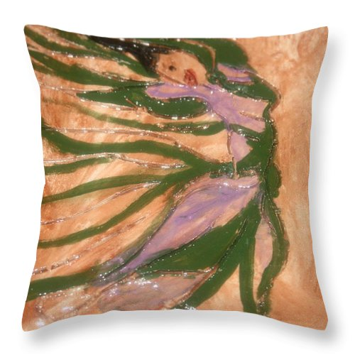 Jesus Throw Pillow featuring the ceramic art Dancing - Tile by Gloria Ssali