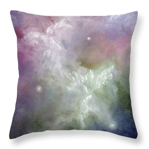 Angel Throw Pillow featuring the painting Dancing Angels by Marina Petro
