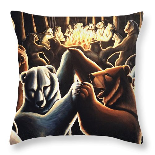 Bears Throw Pillow featuring the painting Dancing Bears Painting by Kim Hunter