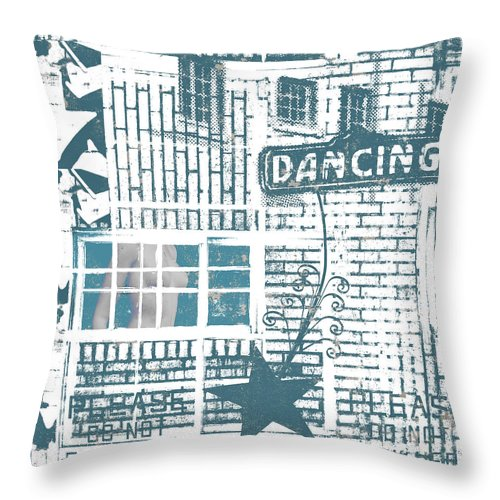 Architecture Throw Pillow featuring the mixed media Dancing Collage by Carol Leigh