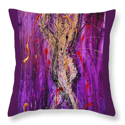 Nude Throw Pillow featuring the painting Dancing Figure by Lauren Luna