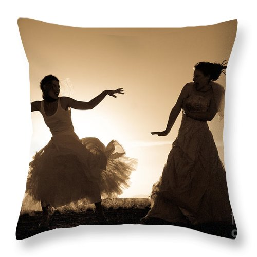 Dancing Girls Throw Pillow featuring the photograph Dancing Girls by Scott Sawyer
