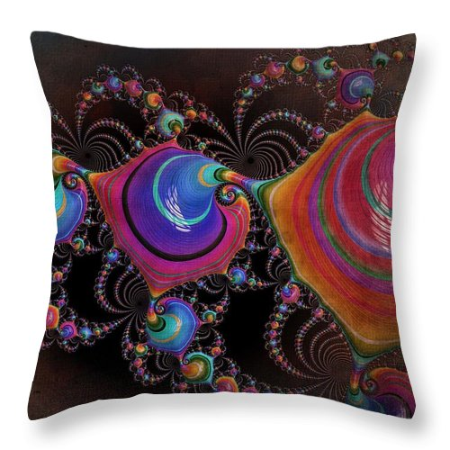 Fractal Throw Pillow featuring the digital art Dancing Hats by Amanda Moore