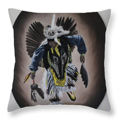 Michael Throw Pillow featuring the painting Dancing In The Spirit by Michael TMAD Finney