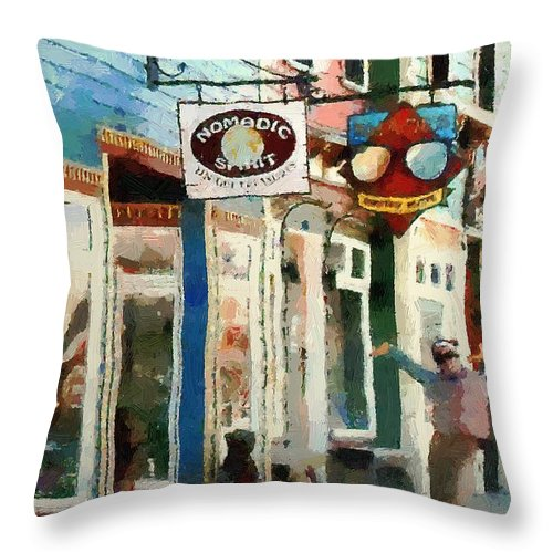 Colorado Throw Pillow featuring the painting Dancing In The Street by RC DeWinter