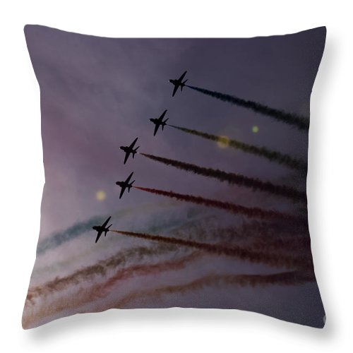 Red Arrows Throw Pillow featuring the photograph Dancing In The Sun by Angel Ciesniarska