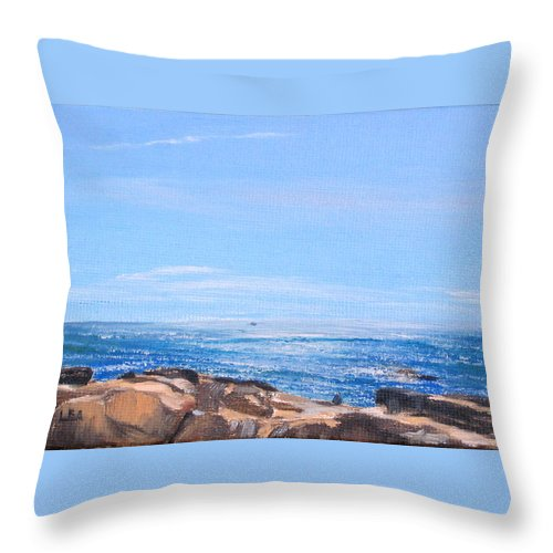 Seascape Throw Pillow featuring the painting Dancing Light by Lea Novak