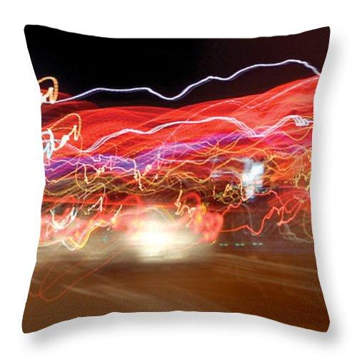 Lights Throw Pillow featuring the photograph Dancing Light Streaks-2 by Steve Somerville