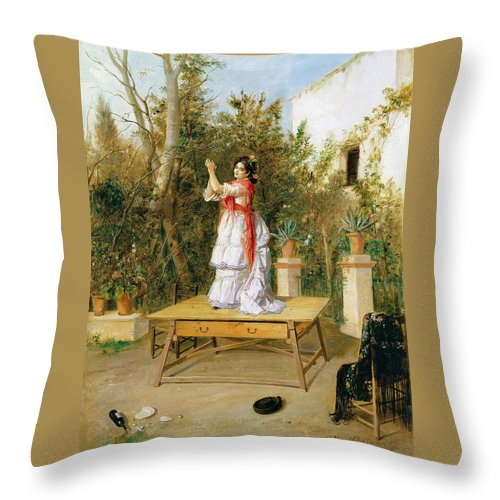 Manuel Cabral Aguado Bejarano Throw Pillow featuring the painting Dancing by Manuel Cabral