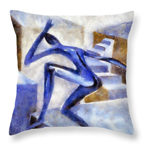 Conceptual Throw Pillow featuring the painting Dancing Off The Edge Of The World by Michelle Calkins