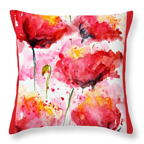 Poppies Throw Pillow featuring the painting Dancing Poppies Galore Watercolor by CheyAnne Sexton