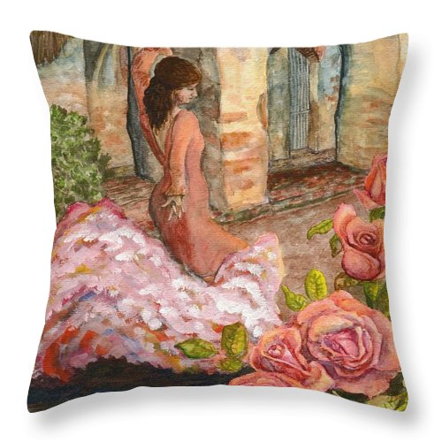 Flamenco Dancer Throw Pillow featuring the painting Dancing Rose by Mona Davis