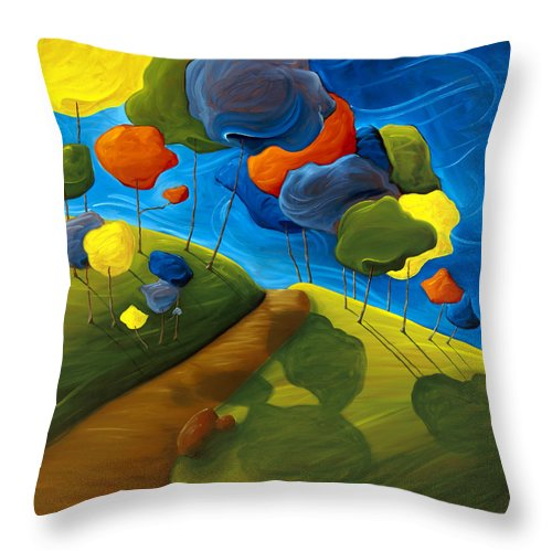 Landscape Throw Pillow featuring the painting Dancing Shadows by Richard Hoedl